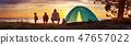 family, tent, sunset 47657022