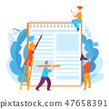 Vector concept illustration with writing idea and people doing job 47658391