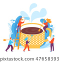 Coffee creating vector cobcept art with coffe cup and people 47658393