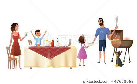 Family Holiday Dinner Cartoon Vector Concept 47658668