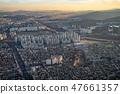 Aerial view cityscape of Seoul, South Korea. Aerial View Lotte tower at Jamsil. View of Seoul with 47661357