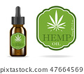 Marijuana, cannabis, hemp oil. Realistic brown glass bottle with cannabis extract. Icon product 47664569