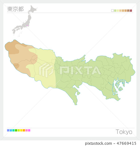 東京地圖(等高線·顏色編碼) 47669415