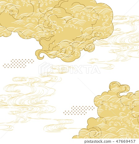 Japanese cloud with hand drawn wave template vecto 47669457
