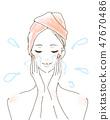 女人洗臉保濕美容護理沖洗 47670486