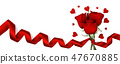 Roses and hearts on white 47670885