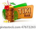 Tiki Bar Label With Tiki Cocktail 47672263