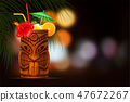 Tiki Cocktail On Summer Night Background 47672267