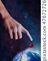 Human hand blood drop. World Blood Donor Day. 47672726