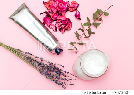 Skin care lotion on pink background  47673686