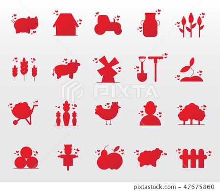 cute farm icons set 47675860