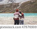 young couple traveler looking beautiful landscape 47676909