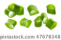 Chopped chives, fresh green onions isolated on white background, macro, closeup 47678348