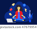 Meditation woman at work.  47679954