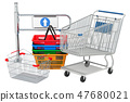 Shop entrance gate with shopping cart and baskets 47680021