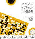 Vector go tournament poster with goban and bowls  47680244