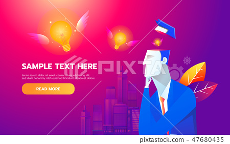New Idea Concept. Flying bulb from businessman brain, flat design best vector icon 47680435