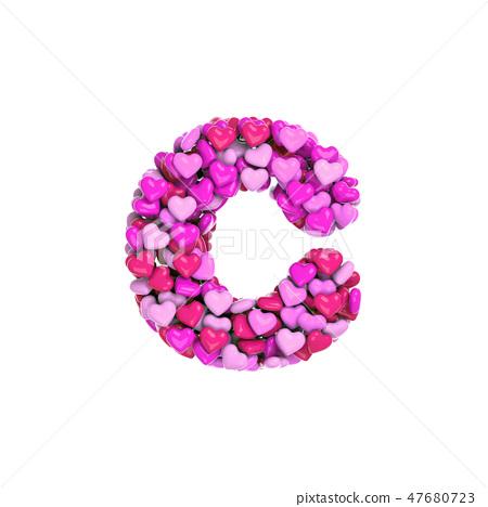Valentine letter C - Lowercase 3d heart font 47680723
