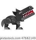 Big bad cartoon wolf. Vector clip art illustration 47682149