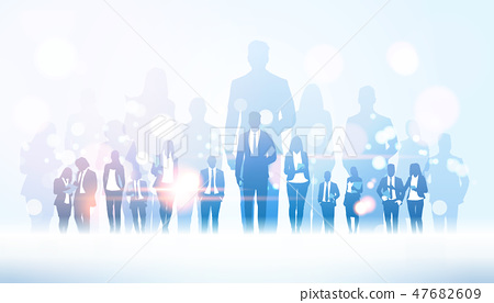 businessman team leader standing out from businesspeople group crowd business man boss leadership 47682609