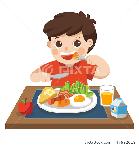 A boy happy to eat breakfast in the morning. 47682618
