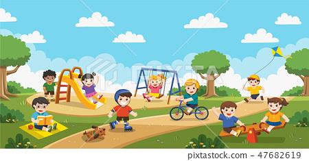 Kids having fun together on playground. 47682619