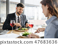 Businesspeople having business lunch at restaurant sitting eating salad drinking wine man looking at 47683636