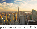 View of Manhattan in sunset light 47684147