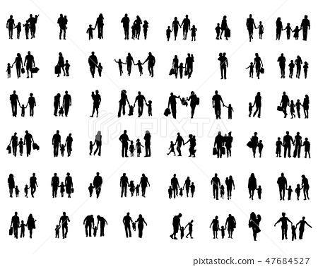 Black silhouettes of families in walk o 47684527