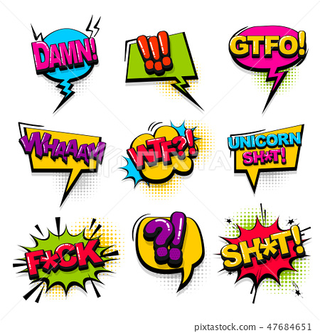 Comic text collection sound effects pop art style 47684651