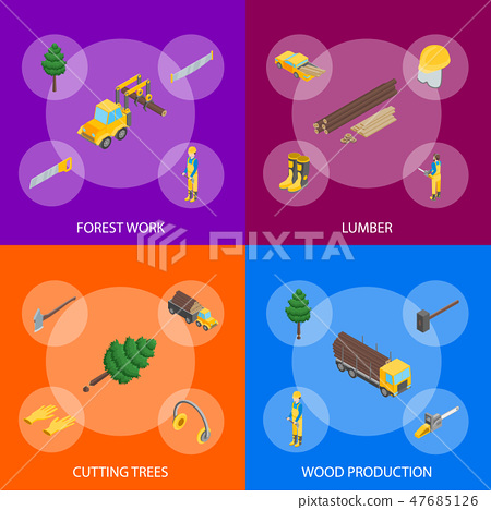 Lumberman Woodcutter Signs 3d Banner Set Isometric View. Vector 47685126
