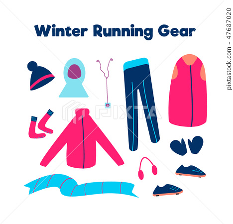 Set of clothes for running in cold weather isolated on a white background. Vector illustration 47687020