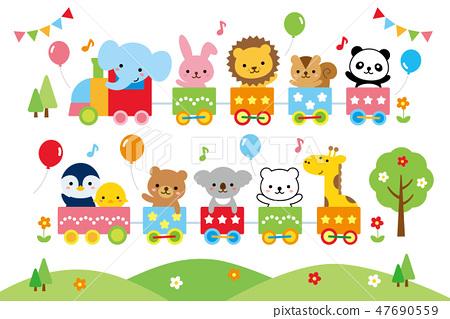 可爱的幼儿园动物火车 47690559