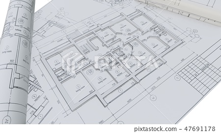 Built walls of a house on construction drawings 47691178