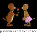 Two lover valentine dogs isolated on black background. 3d render 47692327