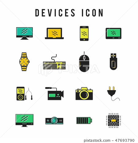 Icons for technology, electronic devices. 47693790