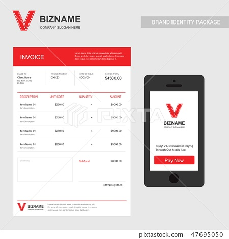 Company invoice design with video logo and station 47695050