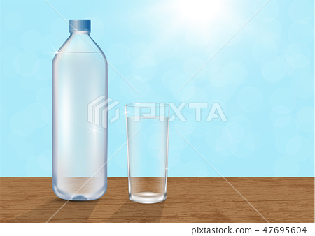 Drinking water bottle and glass of water on table 47695604