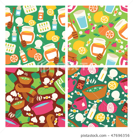 Flu seamless pattern vector fever virus influenza illness signs scarf honey lemon and medicines 47696356