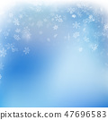 Snowflake flying, card or banner with snow elements, flakes confetti scatter. Cold weather winter 47696583