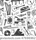 Musical instruments monochrome seamless pattern 47696962