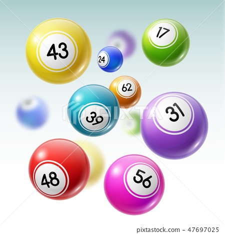 Balls with numbers of lottery, lotto or bingo game 47697025