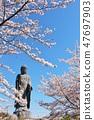 茨城縣春天的Ushiku大佛和櫻花 47697903