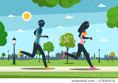 Jogging in City park. Man and Woman Running 47699438