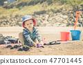 boy, sand, beach 47701445