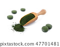 organic chlorella and spirulina powder and pills in a wooden scoop isolated on white 47701481