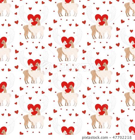 Llama in love seamless pattern 47702218