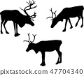 reindeer or caribou silhouettes - vector 47704340