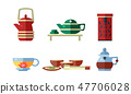 Tea ceremony accessories set, teapot, tea cups, vector Illustration 47706028