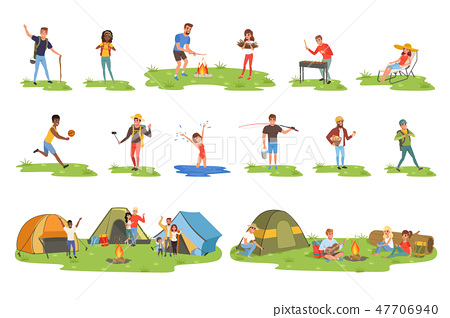 Camper people set, tourists traveling, camping and relaxing vector Illustrations 47706940